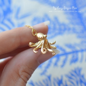 Handmade Gold Plated Sterling Silver Octopus Pendant and Chain