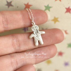 Sterling Silver/18 Carat Gold Plated Gingerbread man Pendant and Chain