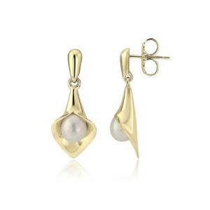 9kt Yellow Gold Medium Short Lily Pearl Earrings