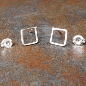 Diamond Sterling Silver Studs - Small