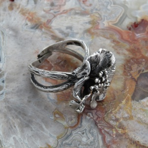 Sterling Silver Wild English Rose Ring - US Size 7 / UK Size O
