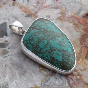 Turquoise Cabochon In Sterling Silver Pendant