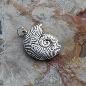 Slim Ammonite Fossil Pendant - Lost Wax Casting In Sterling Silver