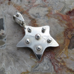 Medium Sterling Silver Star Pendant With Shot Decoration