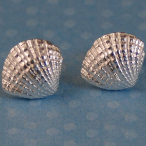 Silver Fan Shell Earrings