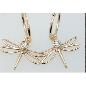 9 Carat Yellow and Diamond Dragonfly Drop Earrings