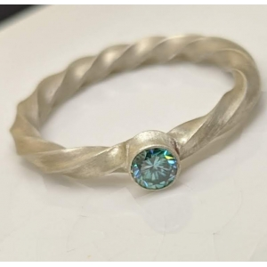 Sterling silver and Blue Moissanite ring