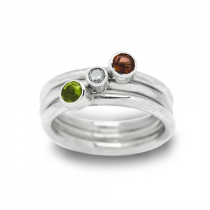 3mm Birth Gemstone Stacker Ring