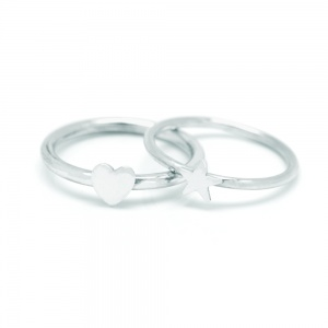 Sterling Silver Heart and Star Rings