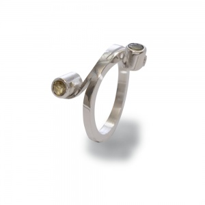 Sterling Silver 2 Stone Curve Ring