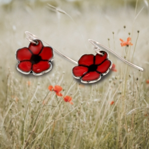 Enamelled Poppy Ear Drops