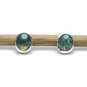 Sterling Silver Moss Agate Studs