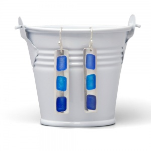 Fine Silver Enamelled Bar Drop Earrings
