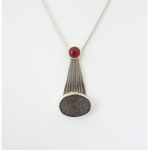 Druzy Agate and Carnelian on Silver pendant