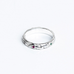Silver Quince ring with Rubies and Emeralds.