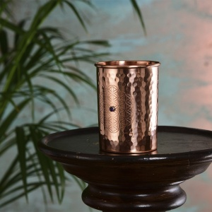 Ayurveda Wellness Birthstone 1 Crystal Copper Cup