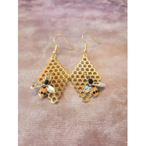 Gold Plated Honeycomb and Bee Dangle earrings