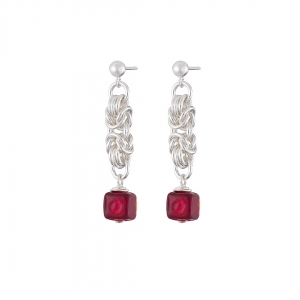 """Ruby Cube"" silver chainmaille earrings"