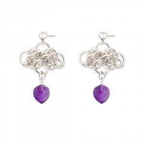 """Nymph Amethyst"" Sterling silver chainmail earrings"