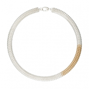 """Contempo"" Sterling silver & gold filled chainmaille necklace"