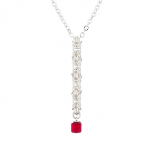 """Ruby Cube"" necklace - silver & Murano glass"