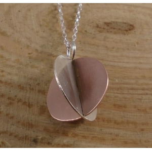 Sterling Silver and Copper 3D Circle Necklace