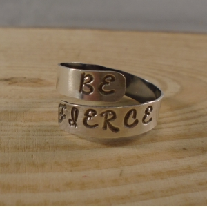 Sterling Silver Stamped 'Be Fierce' Adjustable Ring