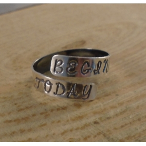 Sterling Silver Stamped 'Begin Today' Adjustable Ring