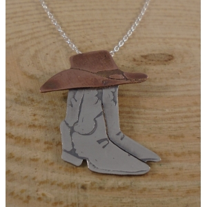 Sterling Silver and Copper Cowboy Boots and Hat Necklace