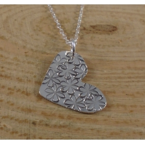 Sterling Silver Daisy Heart Necklace