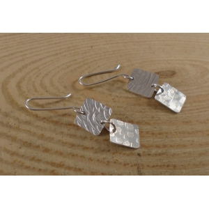 Sterling Silver Double Textured Squares Earrings