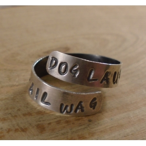 Sterling Silver Stamped 'Dog Laugh - Tail Wag' Adjustable Ring