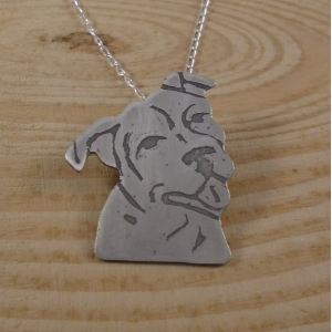 Sterling Silver Etched Staffie Necklace