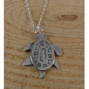Sterling Silver Etched Turtle Necklace
