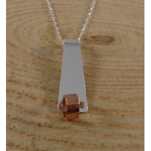 Sterling Silver and Copper Fiddle Circle Necklace