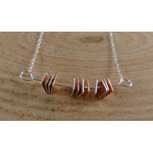 Sterling Silver and Copper Fidget Squares Necklace