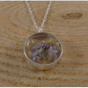 Sterling Silver Flower Resin Necklace