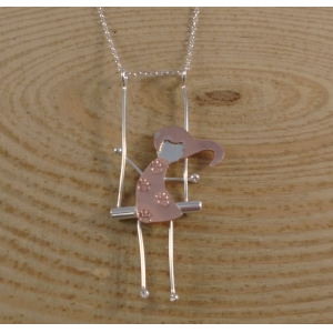 Sterling Silver and Copper Girl On A Swing Necklace