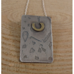 Sterling Silver and Brass Half Owl Face Necklace