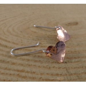 Sterling Silver and Copper Hammered Hearts Earrings