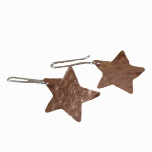 Sterling Silver and Copper Hammered Star Earrings