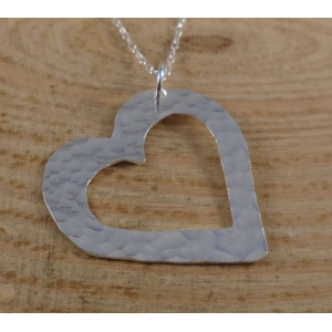 Sterling Silver Hammered Pierced Heart Necklace