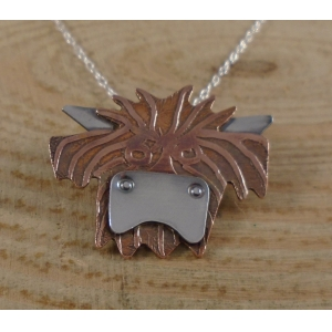 Copper and Sterling Silver Highland Cow Necklace