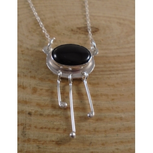 Sterling Silver Onyx Dangle Necklace