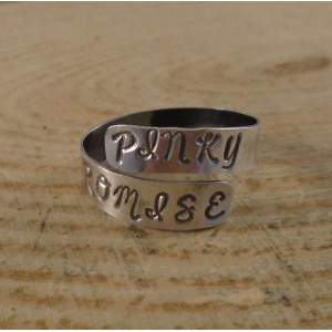 Sterling Silver Stamped 'Pinky Promise' Adjustable Ring