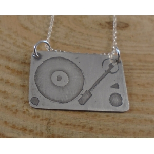 Sterling Silver Record Played Necklace