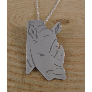 Sterling Silver Rhino Head Necklace