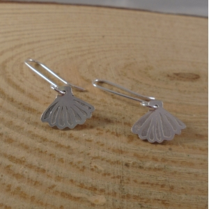 Sterling Silver Etched Shell Earrings