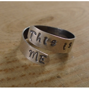 Sterling Silver Stamped 'This Is Me' Cross Over Adjustable Ring