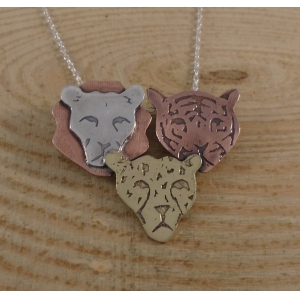 Sterling Silver, Copper and Brass Three Cat Heads Necklace